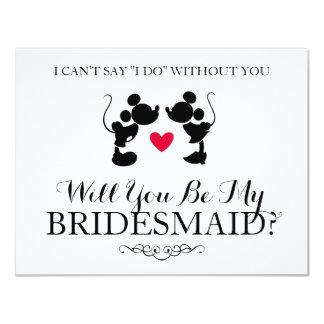 Mickey & Minnie Wedding | Silhouette Bridesmaid Card