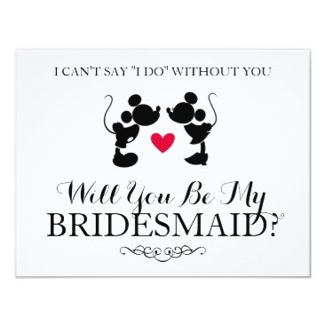 disney Mickey & Minnie Wedding | Silhouette Bridesmaid Card