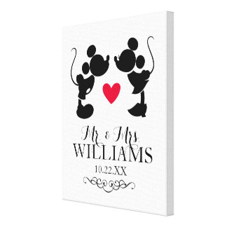 Mickey & Minnie Wedding | Silhouette Canvas Print