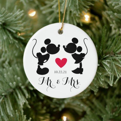 Mickey & Minnie Wedding | Silhouette Ceramic Ornament