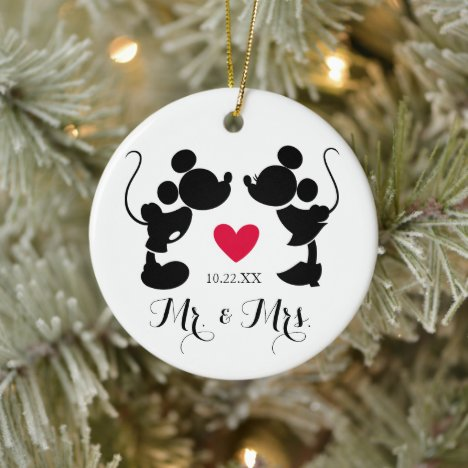 Mickey & Minnie Wedding | Silhouette Ceramic Ornament