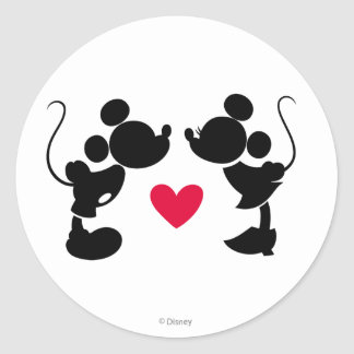Mickey & Minnie Wedding | Silhouette Classic Round Sticker