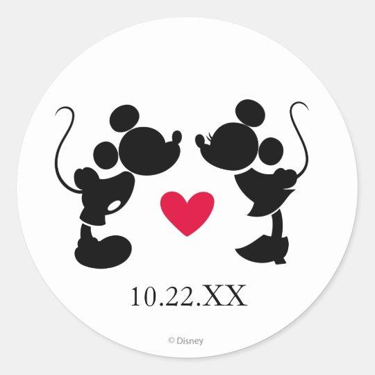 Mickey And Minnie Wedding.Mickey Minnie Wedding Silhouette Classic Round Sticker