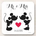 Mickey & Minnie Wedding | Silhouette Drink Coaster