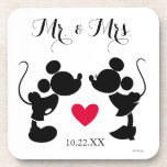 "Mickey &amp; Minnie Wedding | Silhouette Drink Coaster<br><div class=""desc"">Mickey &amp; Minnie Silhouette Wedding</div>"