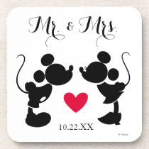 Mickey & Minnie Wedding | Silhouette Drink Coaster
