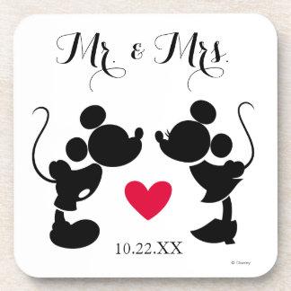 Mickey & Minnie Wedding   Silhouette Drink Coaster