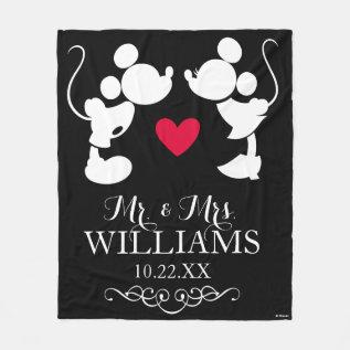 Mickey & Minnie Wedding | Silhouette Fleece Blanket at Zazzle