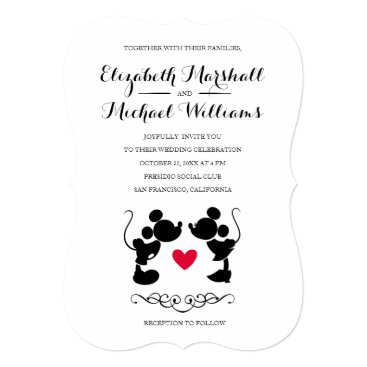 disney Mickey & Minnie Wedding | Silhouette Invitation