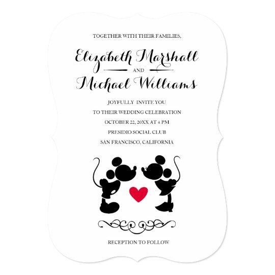Mickey And Minnie Wedding.Mickey Minnie Wedding Silhouette Invitation