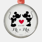 Mickey & Minnie Wedding | Silhouette Metal Ornament