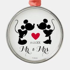 Mickey & Minnie Wedding | Silhouette Metal Ornament at Zazzle