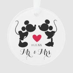 Mickey & Minnie Wedding | Silhouette Ornament at Zazzle