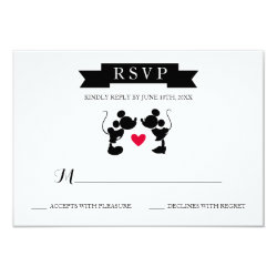 Mickey & Minnie Wedding | Silhouette RSVP Card