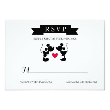 disney Mickey & Minnie Wedding | Silhouette RSVP Card