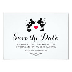 Mickey & Minnie Wedding | Silhouette Save The Date Card at Zazzle