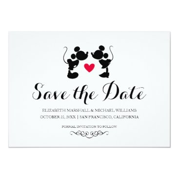 disney Mickey & Minnie Wedding | Silhouette Save the Date Card