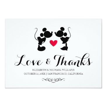 disney Mickey & Minnie Wedding | Silhouette Thank You Card