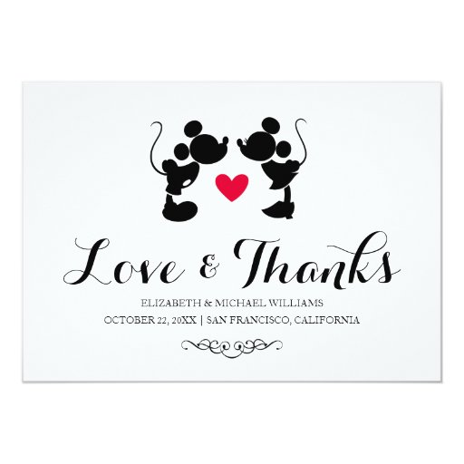 Mickey & Minnie Wedding | Silhouette Thank You