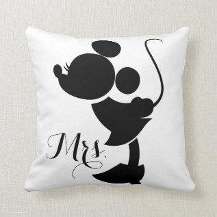 Mickey & Minnie Wedding | Silhouette Throw Pillow at Zazzle