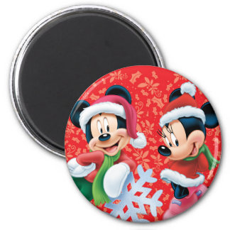Mickey & Minnie With Snowflake 2 Inch Round Magnet