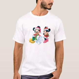 Mickey & Minnie With Snowflake T-Shirt
