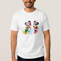 Mickey & Minnie With Snowflake Tee Shirt at Zazzle