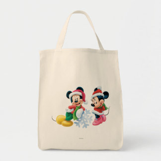 Mickey & Minnie With Snowflake Tote Bag