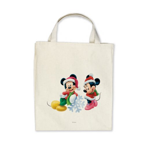 Mickey & Minnie With Snowflake Tote Bags