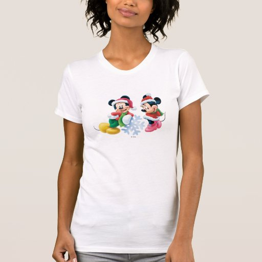 Mickey & Minnie With Snowflake T-shirts