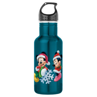 Mickey & Minnie With Snowflake Water Bottle