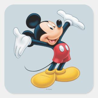 Mickey Mouse 13 Pegatina Cuadrada