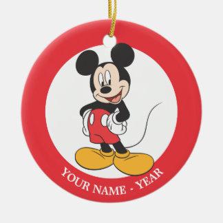 Mickey Mouse 1 Adorno Navideño Redondo De Cerámica
