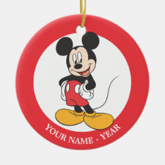 Mickey Mouse 1 Double-Sided Ceramic Round Christmas Ornament at Zazzle
