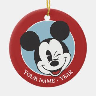 Mickey Mouse 2 Adorno Navideño Redondo De Cerámica