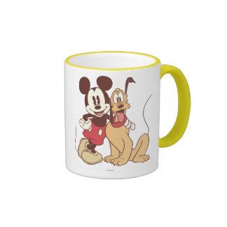 Mickey Mouse and Pluto Ringer Coffee Mug