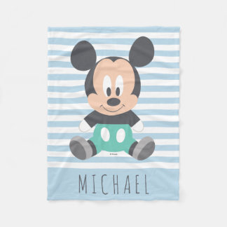Mickey Mouse   Baby Mickey - Add Your Name Fleece Blanket