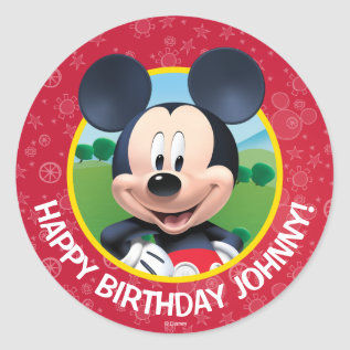 Mickey Mouse Birthday Classic Round Sticker at Zazzle