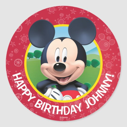 Mickey Mouse Birthday Classic Round Sticker Zazzle