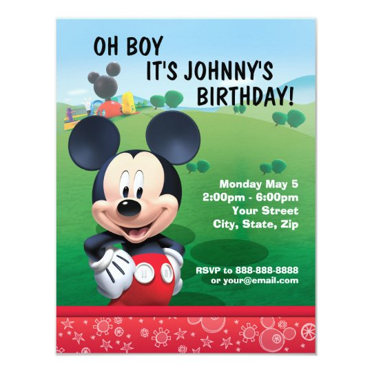 mickey mouse birthday invitation | zazzle, Birthday invitations