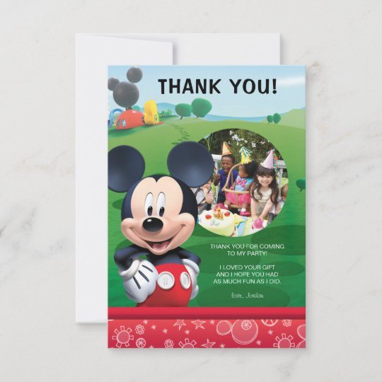 Mickey Mouse Birthday Thank You Cards Zazzle Com