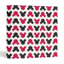 Mickey Mouse | Black and Red Pattern 3 Ring Binder