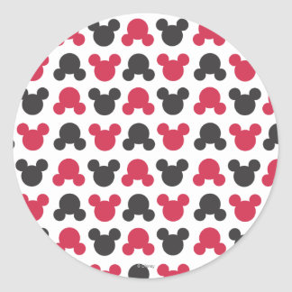 Mickey Mouse | Black and Red Pattern Classic Round Sticker