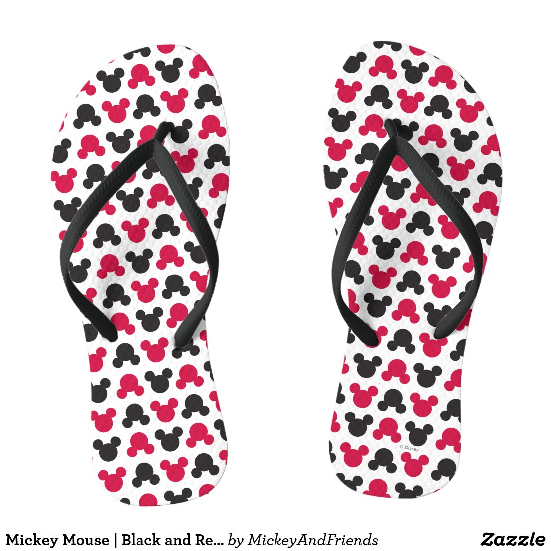 Mickey Mouse | Black and Red Pattern Flip Flops