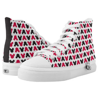 Mickey Mouse | Black and Red Pattern Printed Shoes