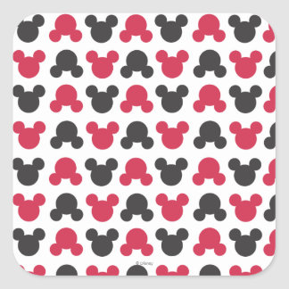 Mickey Mouse | Black and Red Pattern Square Sticker