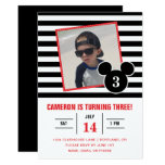 Mickey Mouse | Black & White Stripe Photo Birthday Card