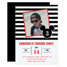 Black and white birthday invitations announcements zazzle mickey mouse black white stripe photo birthday card filmwisefo Images