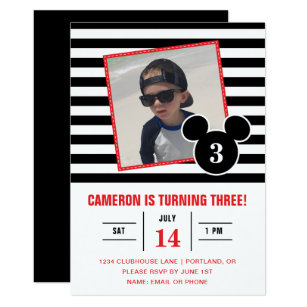 Black and white birthday invitations announcements zazzle mickey mouse black white stripe photo birthday invitation filmwisefo