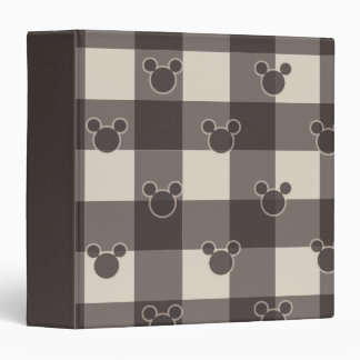 Mickey Mouse | Brown Plaid Pattern 3 Ring Binder